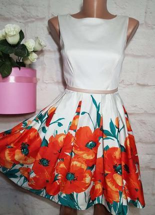 Платье миди коттоновое пышная юбка р с-м от jane norman