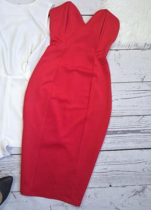 Красное идеальное платье миди бюстье по фигуре