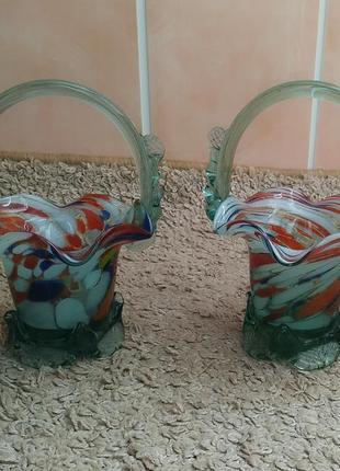 Конфетница винтаж/корзинка из стекла с муаровым узором