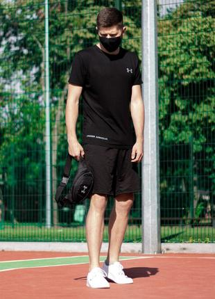 Летний комплект under armor футболка+шорты+поясная сумка бананка +маска спортивный костюм