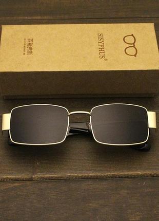 Широкие солнцезащитные очки маска квадратные женские черные стеклянные  в золотой оправе2 фото