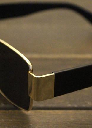 Широкие солнцезащитные очки маска квадратные женские черные стеклянные  в золотой оправе8 фото