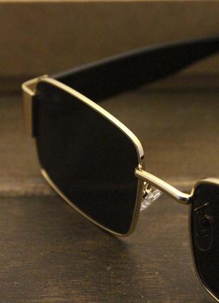 Широкие солнцезащитные очки маска квадратные женские черные стеклянные  в золотой оправе6 фото