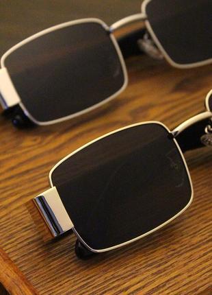 Широкие солнцезащитные очки маска квадратные женские черные стеклянные  в золотой оправе7 фото