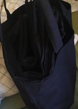 Черная простая тканевая хлопковая эко сумка (шоппер) из плотного хлопка6 фото