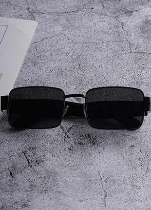 Широкие солнцезащитные очки маска квадратные женские стеклянные черные в черной оправе