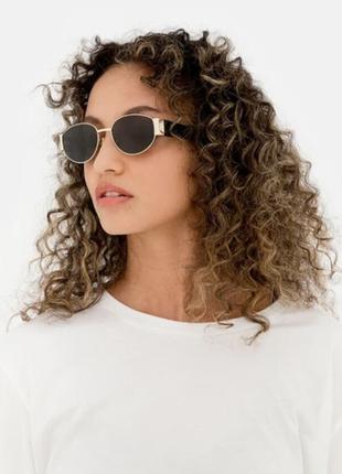 Широкие солнцезащитные очки маска овальные круглые женские стеклянные в золотой оправе