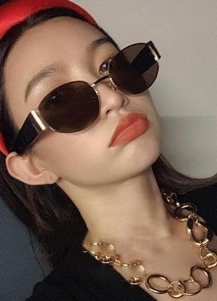 Широкие солнцезащитные очки маска овальные круглые женские стеклянные коричневые