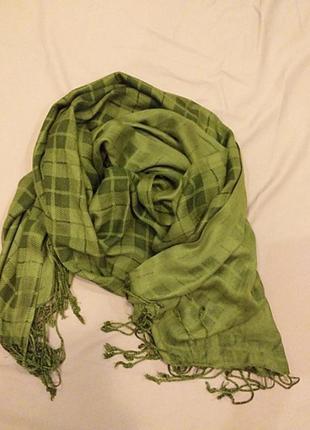 Зелений шарф ралантин в клітку