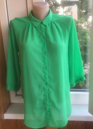 Зелёная шифоновая рубашка блузка