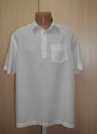 Льняная тенниска рубашка marks&spencer p.xl