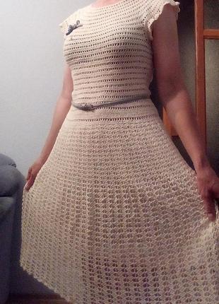 Ажурное платье, вязаное платье, крючком