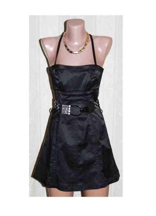 Сарафан платье атлас чёрный с трапециевидной юбкой, португалия