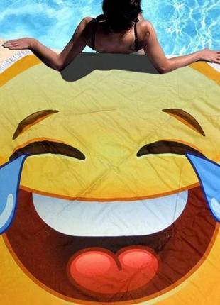 Пляжный круглый коврик с бахромой, диаметр 150см разные расцветки