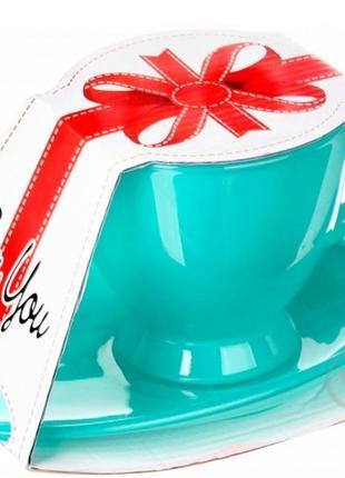 Чашка з блюдцем 230 мл glasmark