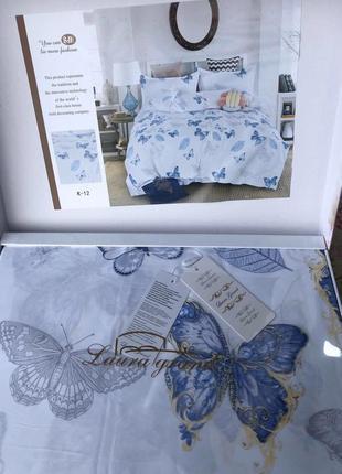 Турецкое постельное белье евро сатин, бабочки
