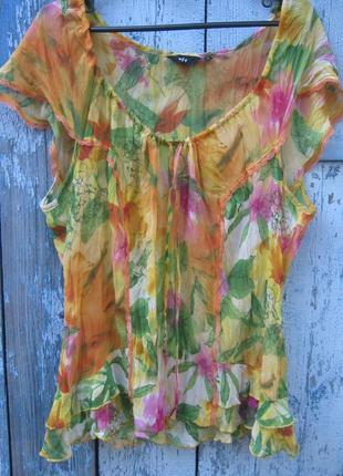 Блуза рубашка цветы батал per una