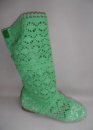 Вязаные сапожки - зелёные
