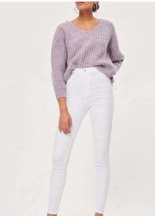 Узкие укороченные джинсы скинни с завышенной талией topshop белого цвета