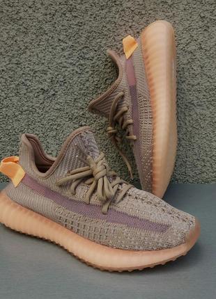 Adidas yeezy boost 350 кроссовки женские бежево оранжевые текстиль