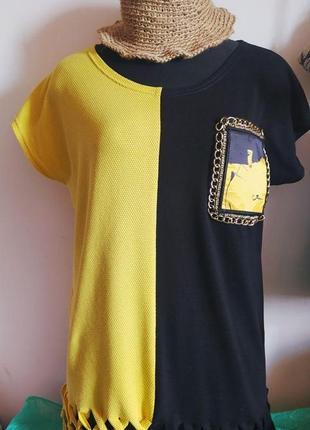 Оригинальная футболка из двух видов итальянских трикотажей