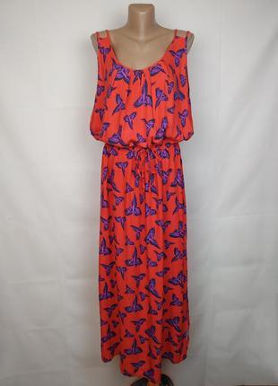 Платье красивенное макси натуральное в принт большого размера george uk 20/48/3xl