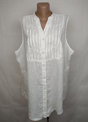 Блуза рубаха белая шикарная льняная 100% большой размер george uk 24/52/5xl