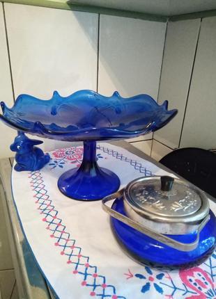 Набор из синей посуды. винтажные предметы, одним лотом