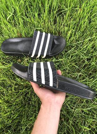 Шлепки adidas original 46-47 размер черные тапки