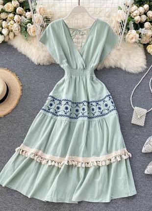 Мятное платье в пол с кисточками и орнаментом, нежное платье макси цвета тиффани