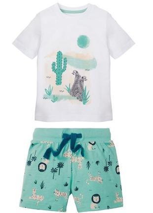Костюм летний для мальчика футболка и шорты lupilu