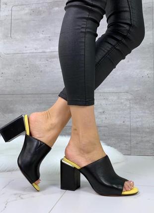 Новые  женские кожаные  чёрные шлёпки шлёпанцы на каблуке