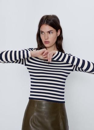 Zara новая базовая кофта, топ в полоску