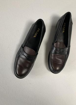 Лоферы prada оригинал кожаные чёрные коричневые туфли gucci chanel