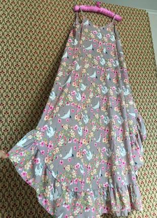 Платье на запах сарафан миди брители с рюшей воланом птички журавли цветочный принт