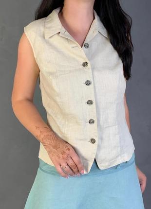 Летняя блуза на пуговица 100 % лён льняная.
