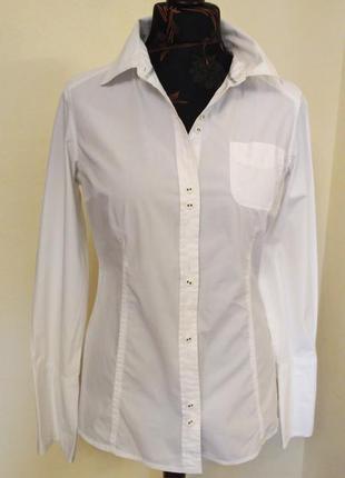 Белая приталенная рубашка с эластаном edc by esprit