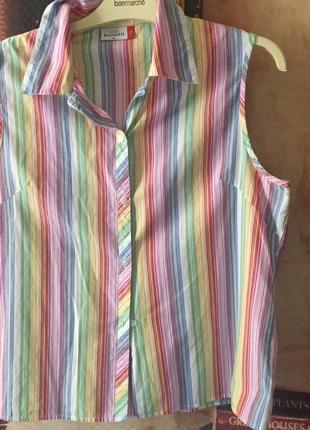 Симпатичная безрукавка- блузка в полоску