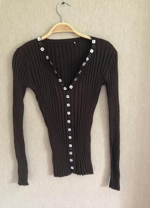 Шелковый дизайнерский  свитер в рубчик как wolford