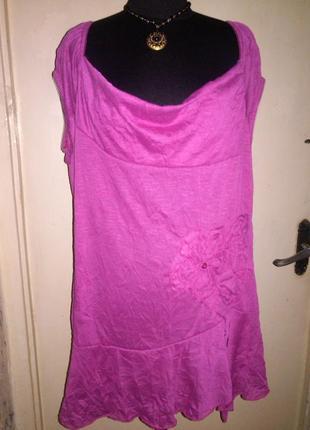Трикотажная,асимметричная,блузка-туника,с оборкой,объёмным цветком,большого размера,тунис