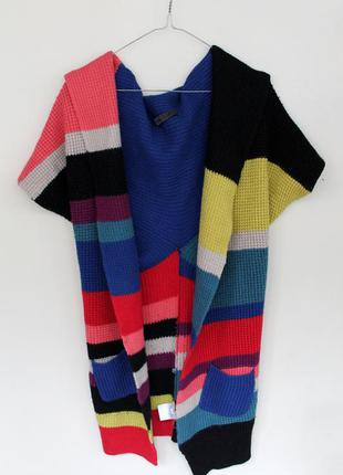 Яркий кардиган / разноцветный вязаный кардиган/ накидка тёплая/пальто - плед