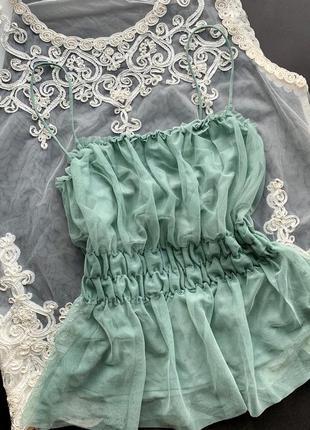 👚хорошая зелёная майка на резинке/оливковая майка тонкие бретели/фатиновая майка👚