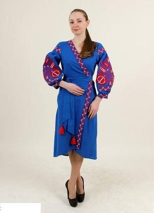 Обалденное платье с вышивкой на домотканном полотне (100% хлопок)