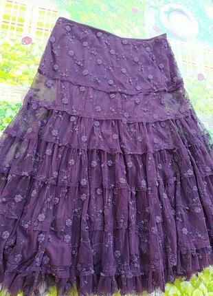 Фиолетовая юбка сетка с вышитым цветком