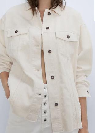 Одежда джинсовая куртка рубашка вельвет оверсайз пиджак жакет zara s xs