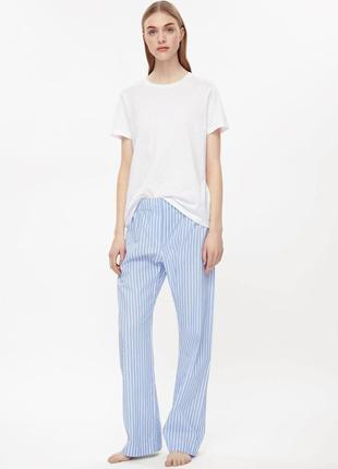 Штаны пижамные cos в полоску голубые брюки, піжамні штани  l/xl/xxl хлопок