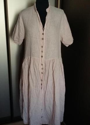 Льняное платье цвета пыльной розы, легчайшее.