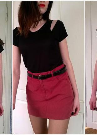 Легкая мини юбка пыльно-розового цвета