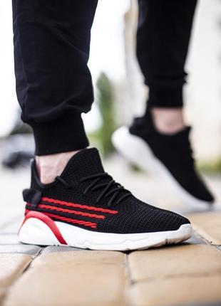Кроссовки зоегор тріо чорні з червоним