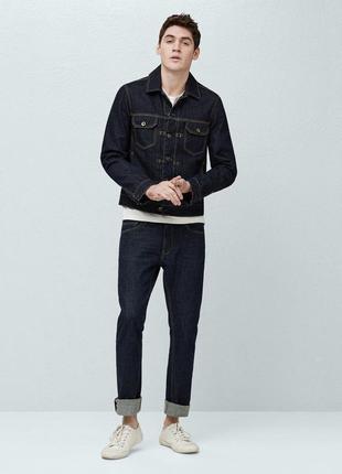 Темный джинсовый пиджак, mango, р.с, пог 51 см, на стройного мужчину
